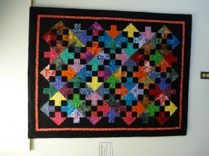 quilt donated by BMQG to BACI and hanging in its Still Creek Large Ed Centre